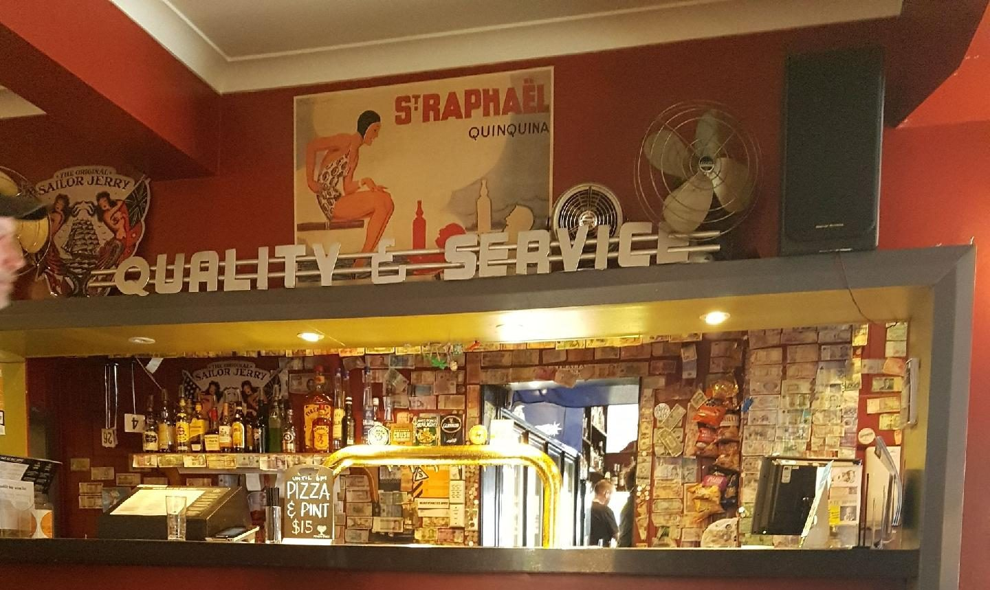 Hobart Things to See - Republic Bar Quality & Service counter